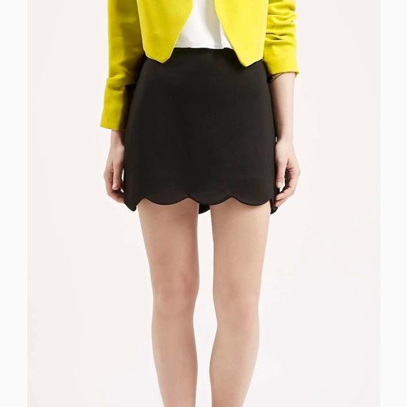 b60e28a81 Topshop Skirts   Black Scallop Hem Mini Skirt   Poshmark